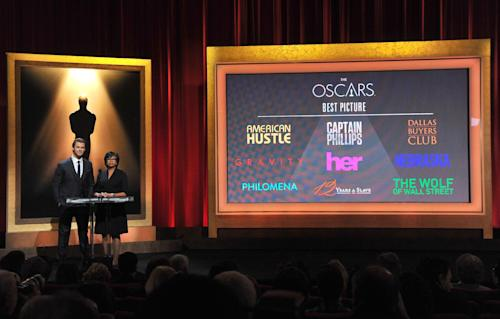 Chris Hemsworth, left, and President of the Academy Cheryl Boone Isaacs announce the Academy Awards nominations for best picture at the 86th Academy Awards nomination ceremony on Thursday, Jan. 16, 2013 in Beverly Hills, Calif. The 86th Annual Academy Awards will take place on Sunday, March 2, at the Dolby Theatre in Los Angeles. (Photo by Vince Bucci/Invision/AP). (Photo by Vince Bucci/Invision/AP)
