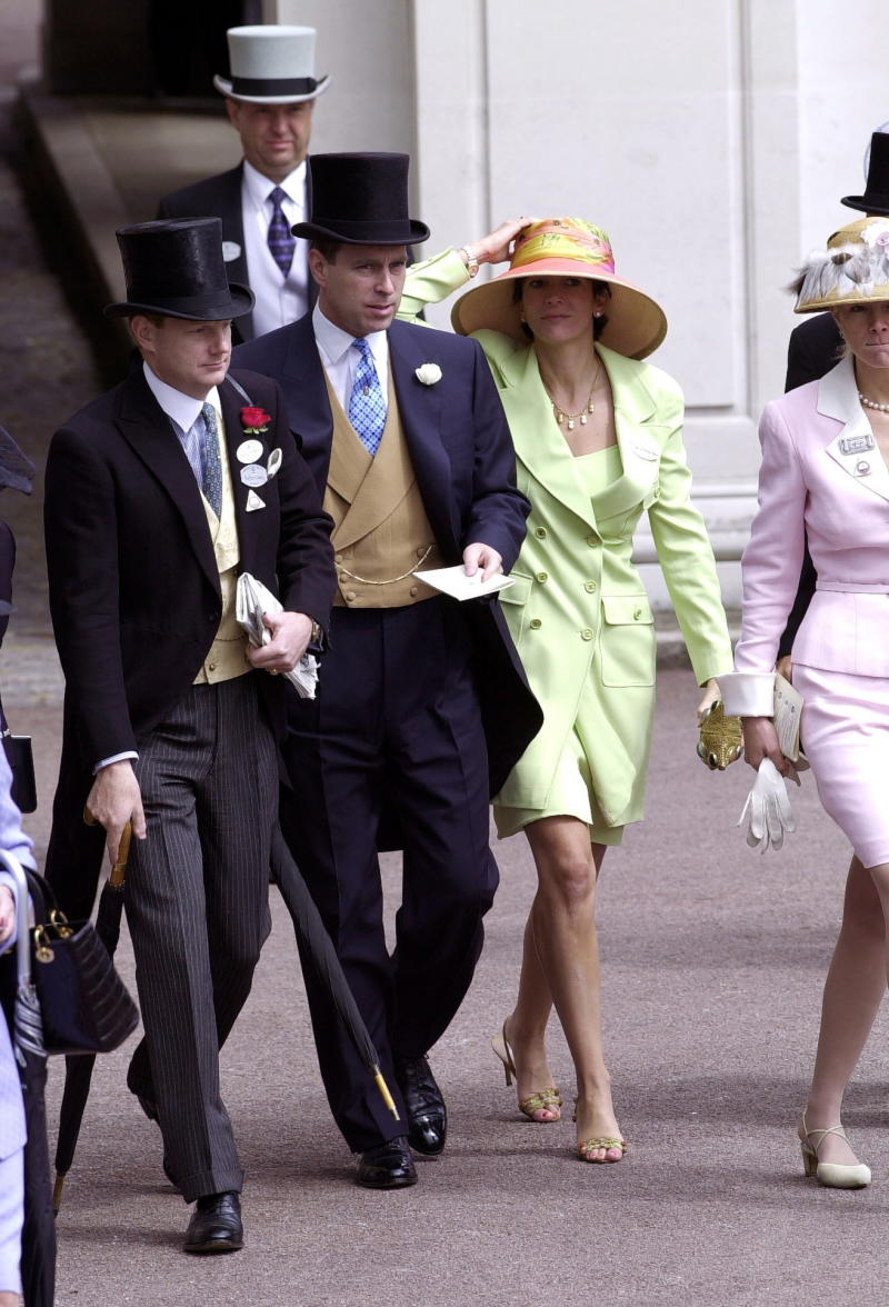 ASCOT, UNITED KINGDOM - JUNE 22: Royal Ascot Race Meeting Thursday - Ladies Day. Prince Andrew, Duke Of York and Ghislaine Maxwell At Ascot. With them are Edward (far left) and Caroline Stanley (far right), the Earl and Countess of Derby. (Photo by Tim Graham Photo Library via Getty Images)