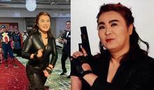 陳玉珍緊身黑皮衣扮「黑寡婦」 支持者讚辣妹網傻眼