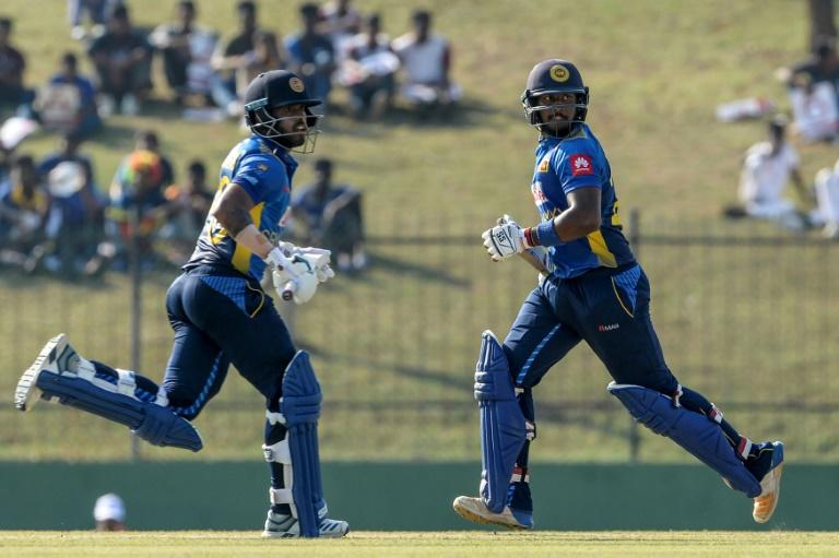 Sri Lanka's Kusal Mendis (left) and Avishka Fernando put on 239 runs against the West Indies at the Sooriyawewa Mahinda Rajapaksa  Stadium in Hambantota