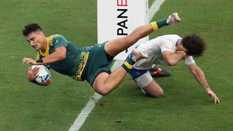 Jordan Petaia, pictured here in action during the Wallabies' clash with Uruguay at the World Cup.