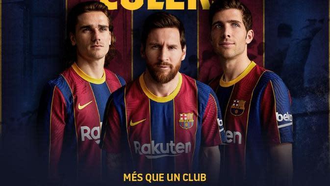 Barcelona merilis jersey musim 2020/2021. (Twitter)