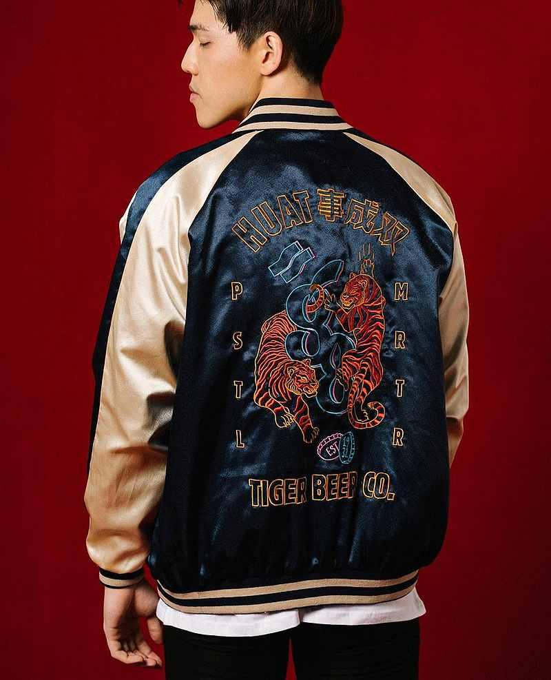 PMC x Tiger 88 Double The Huat Sukajan Jacket Navy, RM388. — Picture from Pestle & Mortar