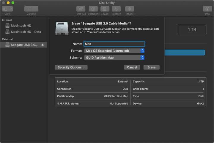 External Drive Create Mac Partition