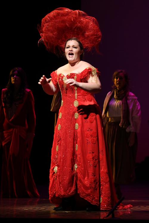 In this July 1, 2013 photo released by Dan Dutcher Public Relations, Sarah Lynn Marion, from Fullerton, Calif., performs at the fifth annual National High School Musical Theater Awards at the Minskoff Theatre in New York. Marion was named best actress at the awards. Taylor Varga from Newtown, Conn., won the best actor crown. (AP Photo/Dan Dutcher Public Relations, Henry McGee)
