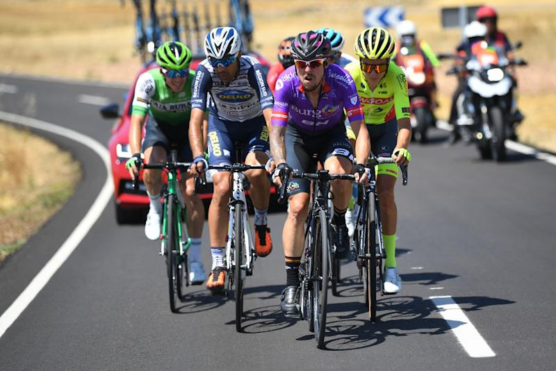 LAGUNAS DE NEILA SPAIN AUGUST 01 Angel Madrazo Ruiz of Spain and Team BurgosBH Breakaway during the 42nd Vuelta a Burgos 2020 Stage 5 a 158km stage from Covarrubias to Lagunas de Neila 1872m VueltaBurgos on August 01 2020 in Lagunas de Neila Spain Photo by David RamosGetty Images