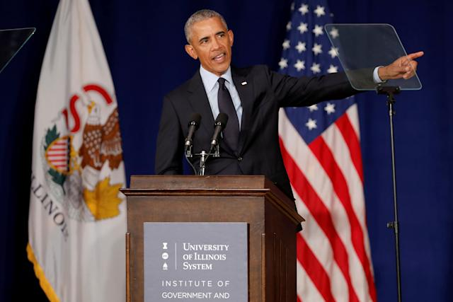 Former U.S. President Barack Obama speaks at the University of Illinois Urbana-Champaign