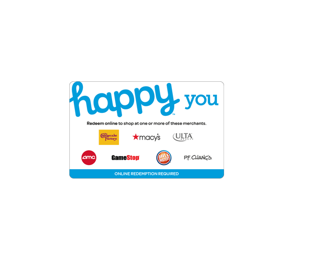 "<p><strong>Happy Gift Card</strong></p><p>giftcards.com</p><p><a href=""https://go.redirectingat.com?id=74968X1596630&url=https%3A%2F%2Fwww.giftcards.com%2Fhappy-you-gift-card&sref=https%3A%2F%2Fwww.goodhousekeeping.com%2Fholidays%2Fgift-ideas%2Fg34126610%2Fbest-gift-cards%2F"" target=""_blank"">Shop Now</a></p><p>Give your recipient options with a Happy Gift Card. Each one has a selection of retailers to use them, including favorites like Macy's and Bed Bath and Beyond, Ulta Beauty and GameStop, restaurants like PF Chang's, The Cheesecake Factory and ColdStone, and more. You can also customize the look online, for an even more personal present. </p><p><strong>RELATED: </strong><a href=""https://www.goodhousekeeping.com/holidays/gift-ideas/a29246249/where-to-buy-amazon-gift-cards/"" target=""_blank"">Here's Where to Get Amazon Gift Cards</a></p>"
