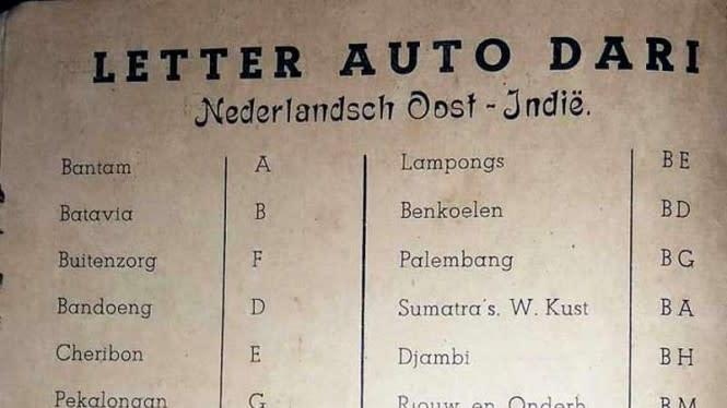 Sejarah Pelat Nomor di Indonesia Ada di Secarik Kertas Ini