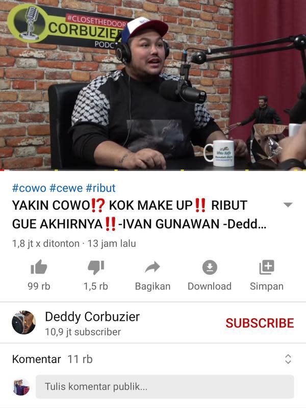 Unggahan Deddy Corbuzier. (Foto: YouTube Deddy Corbuzier)