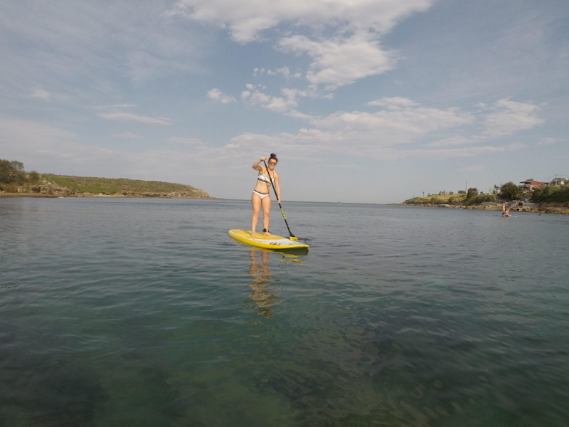 Be reporter Bex gave SUP-ing a go. Source: Be