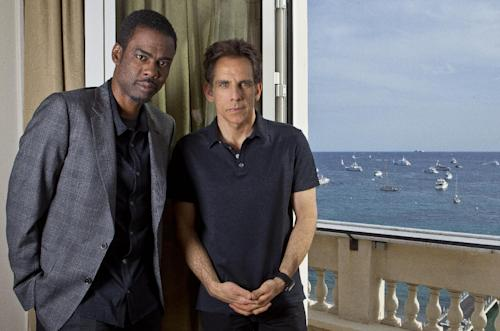 Actors Chris Rock, left, and Ben Stiller pose for photographs following an interview with The Associated Press for Madagascar 3: Europe's Most Wanted at the 65th international film festival, in Cannes, southern France, Thursday, May 17, 2012. (AP Photo/Joel Ryan)