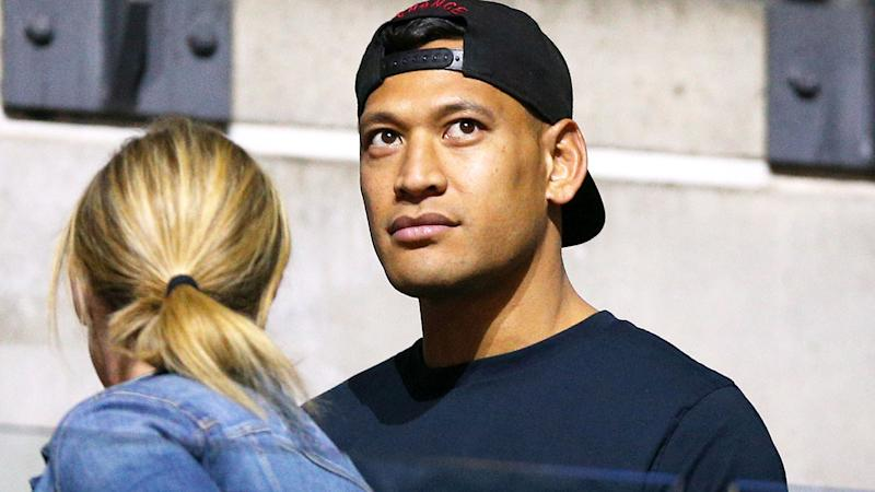 Israel Folau, pictured here at the Netball World Cup watching wife Maria.