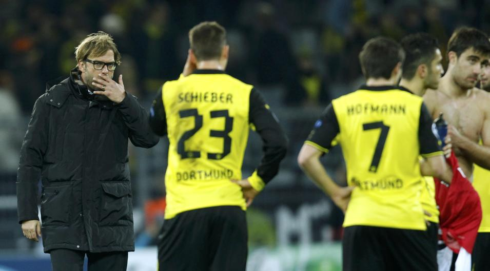 Borussia Dortmund's Klopp reacts after losing to Arsenal in Champions League soccer match in Dortmund