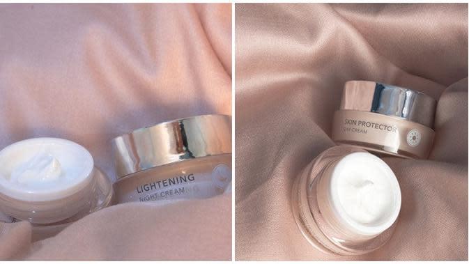 Lightening night cream dan skin protector di rangkaian skincare Everose Invisipeel. (dok. Everose Skincare)