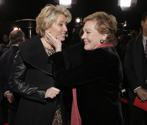 "Emma Thompson and Julie Andrews attend the U.S. Premiere of ""Saving Mr. Banks"", on Monday, December, 9, 2013 in Burbank, Calif. (Photo by Todd Williamson/Invision/AP)"