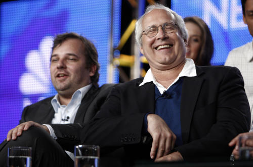"""FILE - This Aug. 5, 2009 file photo shows actor Chevy Chase, right, laughs as executive producer and creator Dan Harmon looks on during the panel for """"Community"""" at the NBC Universal Television Critics Association summer press tour in Pasadena, Calif. NBC said Monday, June 10, 2013, that show creator Dan Harmon will be joined by another former """"Community"""" producer, Chris McKenna.Harmon was replaced as showrunner for season four after a clash with then-cast member Chevy Chase. (AP Photo/Matt Sayles, file)"""
