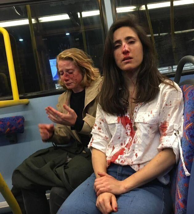Air stewardess and girlfriend beaten up on London bus