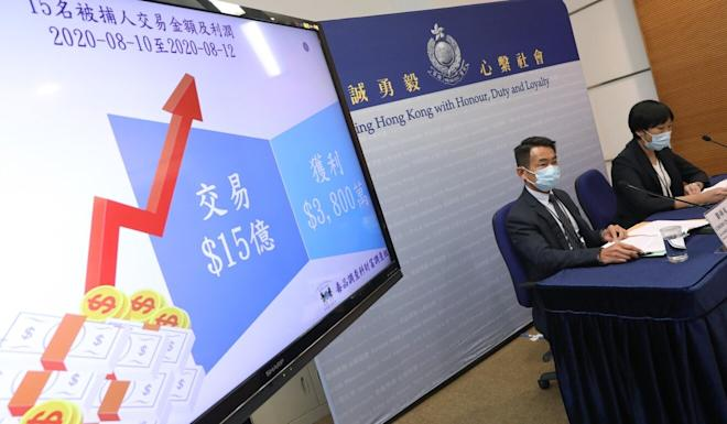 Police arrested 15 suspects in connection with the share price surge. Photo: K. Y. Cheng