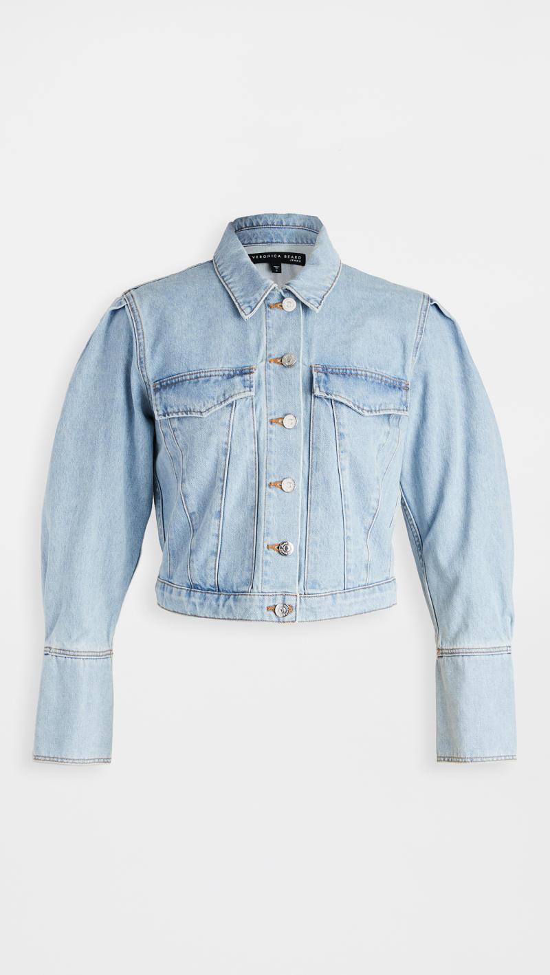 Veronica Beard Jean Denim Pouf Sleeve Jacket
