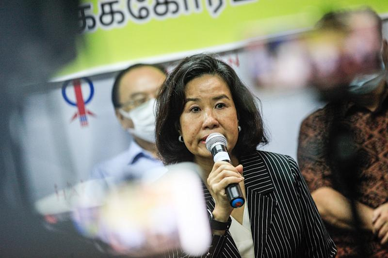 Lim Guan Eng's wife Betty Chew speaks at a press conference held at the Bagan Parliament Service Centre in Seberang Perai August 11, 2020.