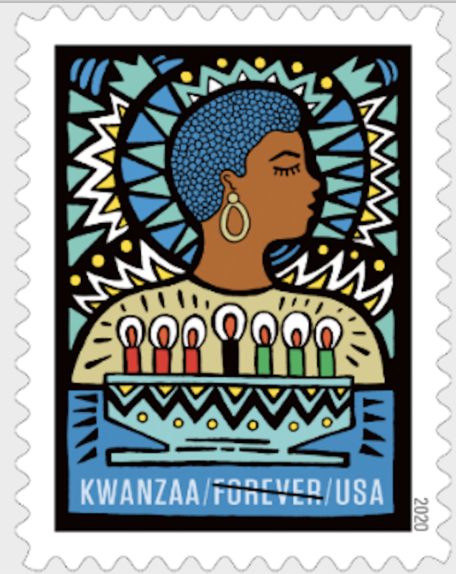"""<p>This new stamp celebrates the Pan-African holiday of Kwanzaa, celebrated from December 26 to January 1. Featuring original artwork by Andrea Pippins, it shows a woman with her eyes closed, her head turned sideways. """"Her contemplative demeanor signifies the ways in which observers of Kwanzaa reflect on the seven founding principles, the Nguzo Saba, and their role in everyday life,"""" USPS says of the design. """"A kinara (candleholder) with the seven lit candles (mishumaa saba) sits in front of her. Cool tones evoke a sense of inner peace, and vibrant design elements give the artwork a celebratory feel."""" <br></p>"""