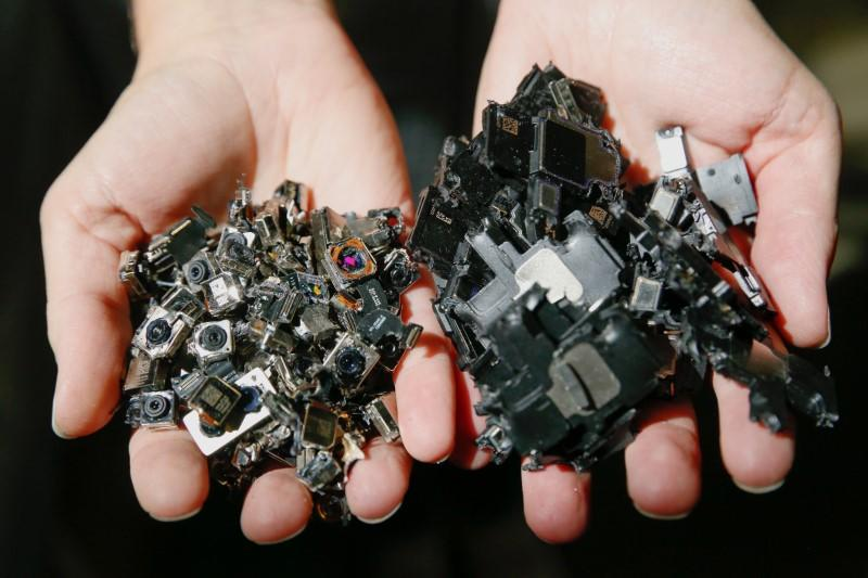IPhone components at an Apple recycling facility in Austin