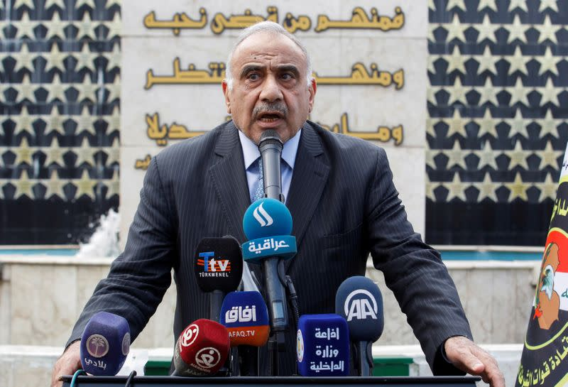FILE PHOTO: Iraqi Prime Minister Adel Abdul Mahdi speaks during a symbolic funeral ceremony of Major General Ali al-Lami, who commands the Iraqi Federal Police's Fourth Division, who was killed in Salahuddin, in Baghdad