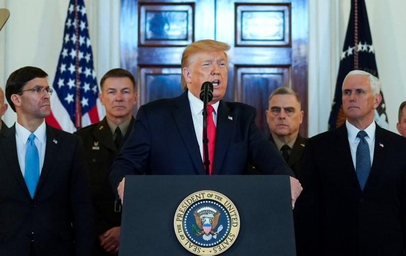U.S. President Trump delivers statement about Iran at the White House in Washington