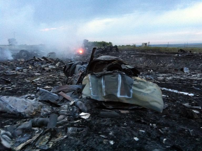 Wreckage of the Malaysian airliner after it crashed, near the town of Shaktarsk, in rebel-held east Ukraine