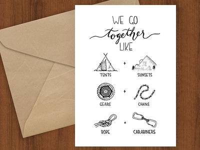 Love Is An Adventure Hikers Letterpress Greeting Card