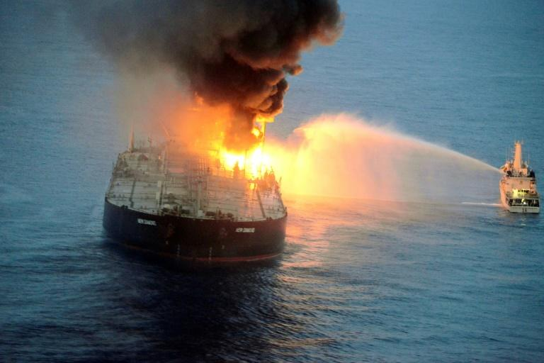 Battle to stop blazing tanker from hitting Sri Lanka coast