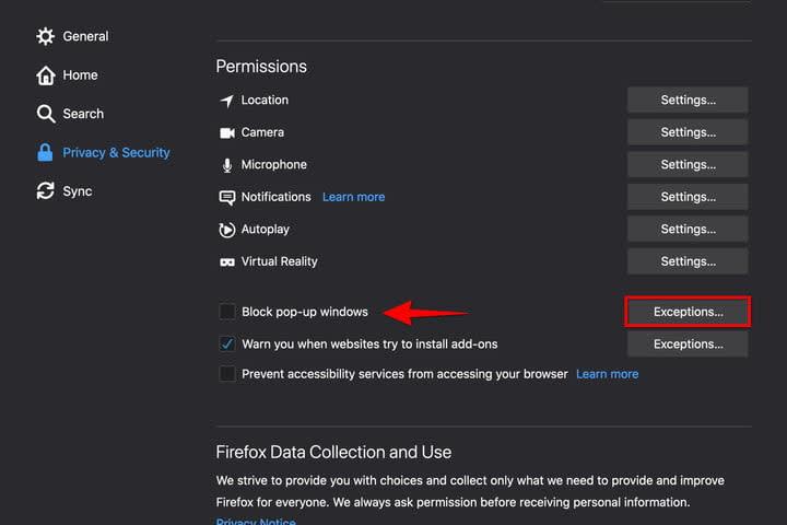 Firefox MacOS Pop-Up Setting