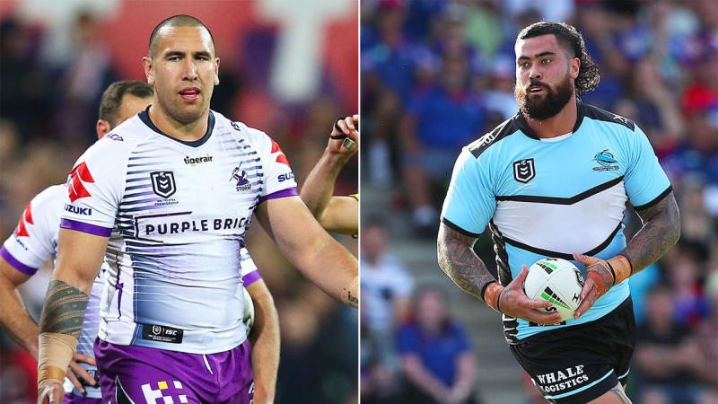 Andrew Fifita (pictured right) has come out in defence of Nelson Asofa-Solomona (pictured left). (Getty Images)