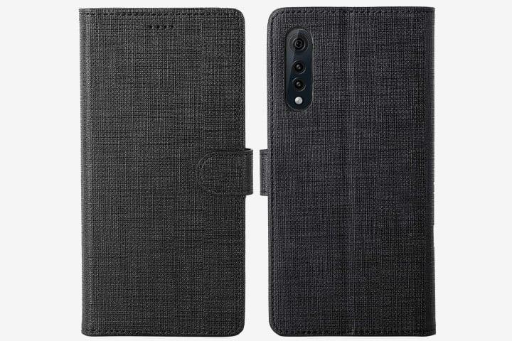 Foluu Canvas Flip Folio Case in black on LG Velvet phone