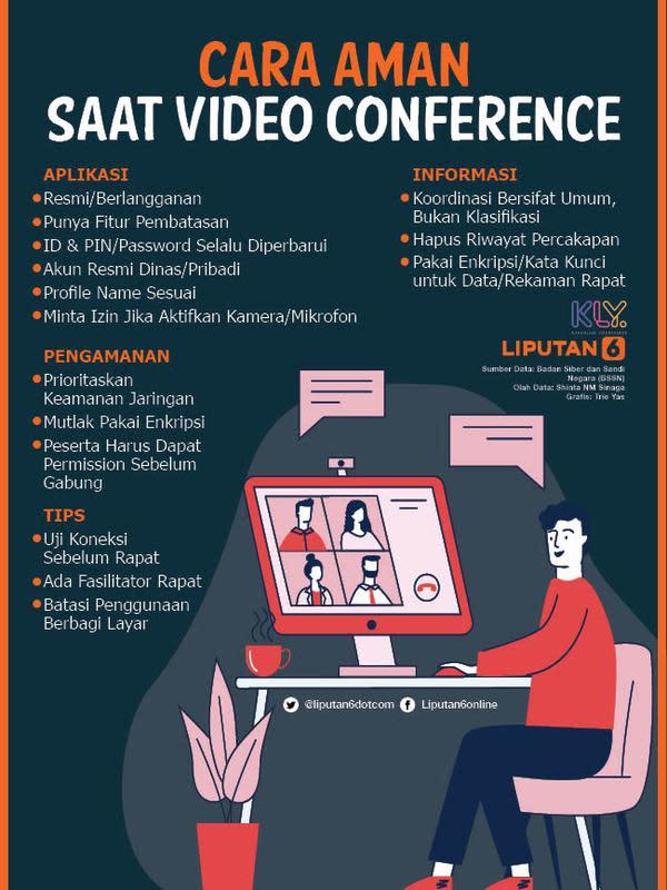 Infografis Cara Aman Saat Video Conference (Liputan6.com/Triyasni)