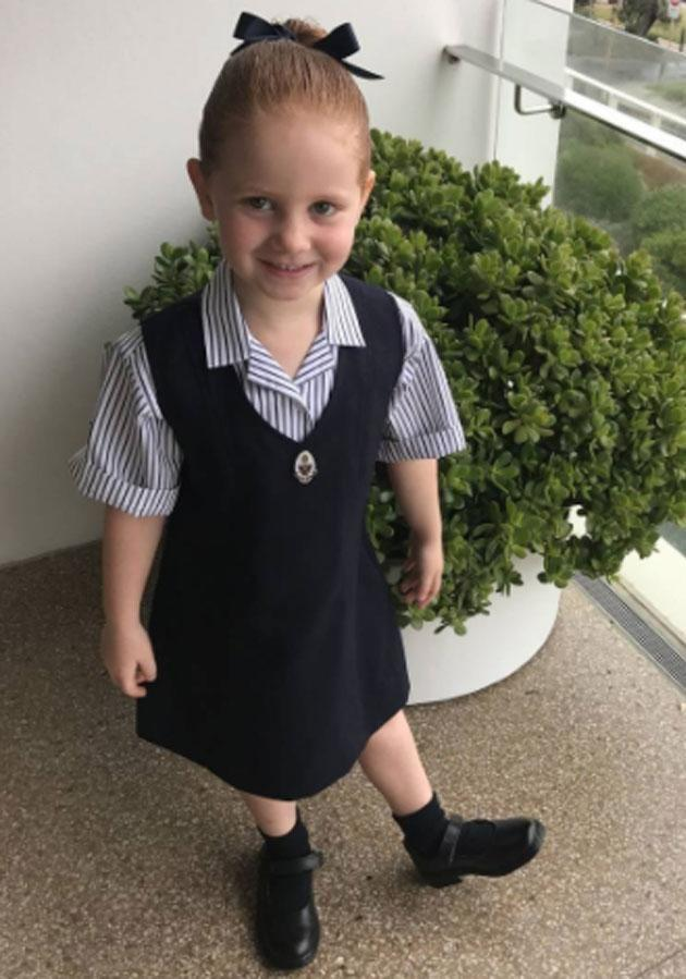 Pixie Curtis attended her first day of school in February. Photo: Instagram