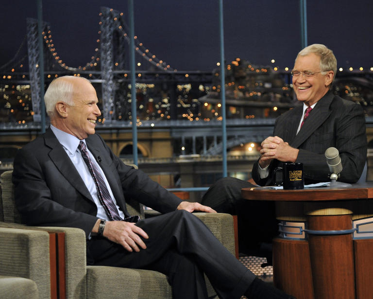 20 Classic 'Late Show' Moments We're Glad We Stayed Up For: John McCain (finally) sits down for an interview after canceling in 2008