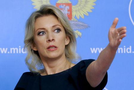 Spokeswoman of the Russian Foreign Ministry Zakharova attends a news briefing in Moscow