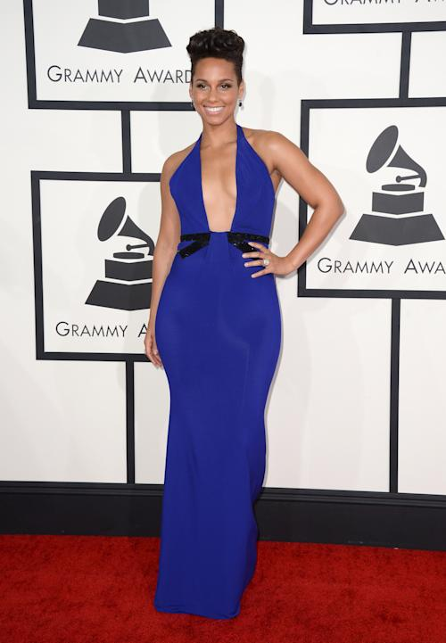 Alicia Keys arrives at the 56th annual Grammy Awards at Staples Center on Sunday, Jan. 26, 2014, in Los Angeles. (Photo by Jordan Strauss/Invision/AP)