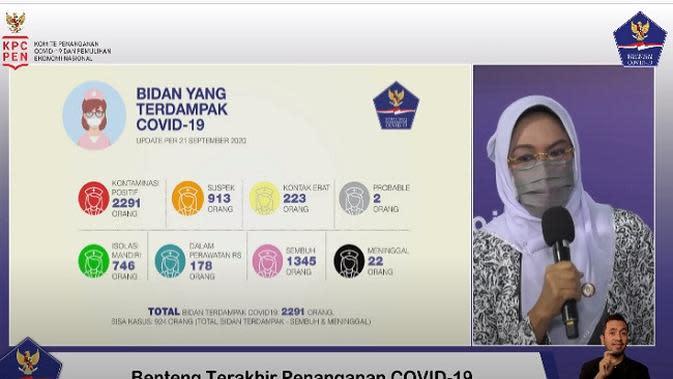 Dr. Ade Jubaedah, SSit, MM, MKM, Sekretaris Jenderal PP Ikatan Bidan Indonesia (IBI) (Tangkapan Layar Youtube BNPB)