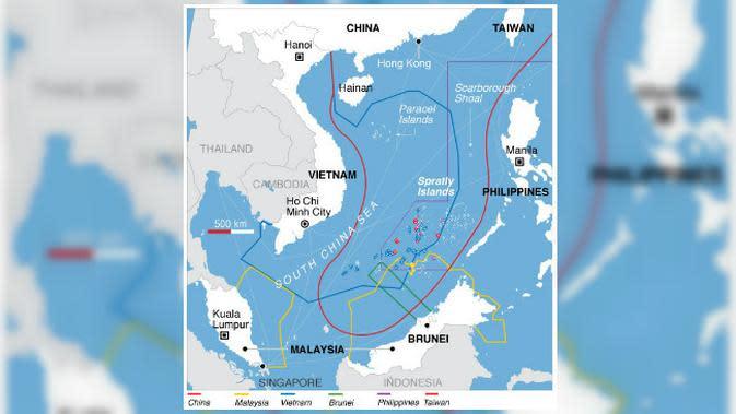 klaim tumpang tindih negara-negara Asia Tenggara, China, dan Taiwan atas Laut China Selatan (VOA Wikimedia Commons) 2