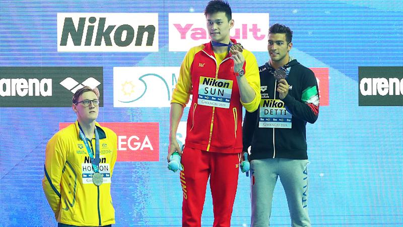 Mack Horton, pictured here refusing to take the podium with Sun Yang at the world championships. (Photo by Maddie Meyer/Getty Images)