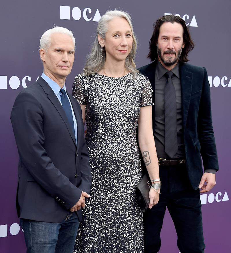 A photo of Alexandra Grant, Keanu Reeves and Klaus Biesenbach on the red carpet at the MOCA Benefit 2019 at The Geffen Contemporary at MOCA on May 18, 2019 in Los Angeles, California.