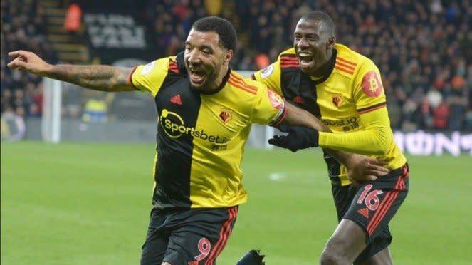 Pemain Watford, Troy Deeney dan Abdoulaye Doucoure.