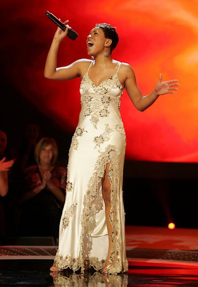 Stephanie Edwards performs in front of the judges on the 6th season of American Idol.