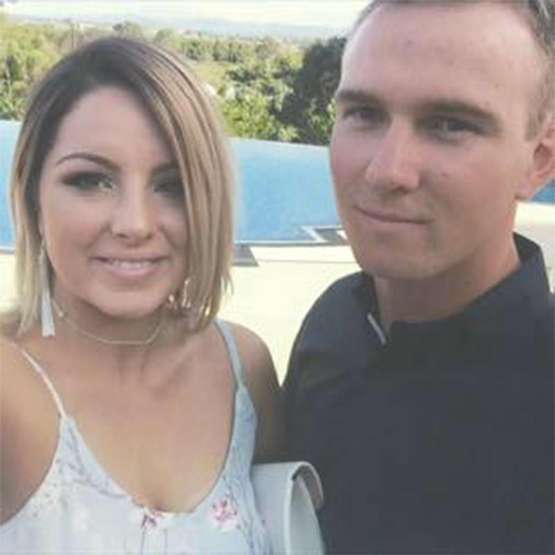 Emily Clarke and her partner Jay (pictured) thanked a helpful truck driver who helped them through a storm near Proserpine, Queensland.