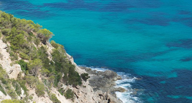 Photo of Formentera coast where Melbourne man died after being struck by a boat.