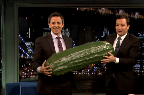 Jimmy Fallon Calls Conan O'Brien 'A Great Guy,' Gives Seth Meyers the 'Late Night' Pickle