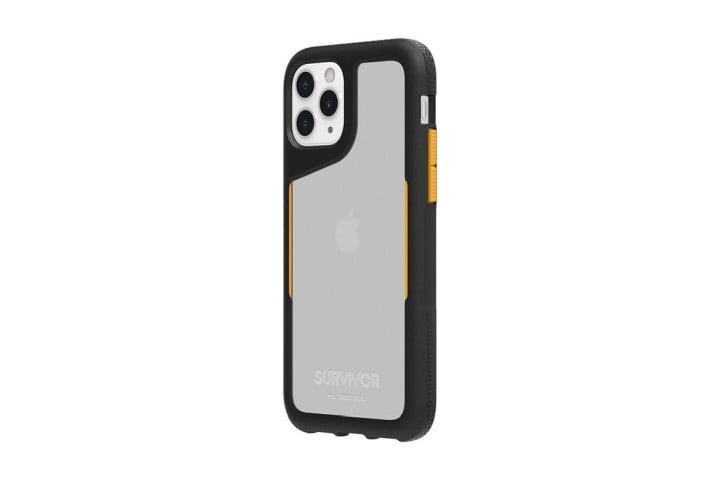 Photo shows the iPhone 11 Pro in a black and clear Survivor Endurance case from Griffin